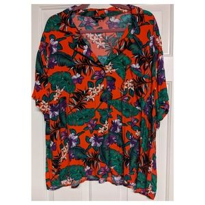 Plus Size Tropical Collared Shirt